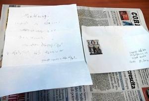 lettera minacce corriere