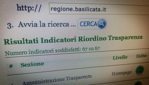 Basilicata prima in trasparenza in Italia