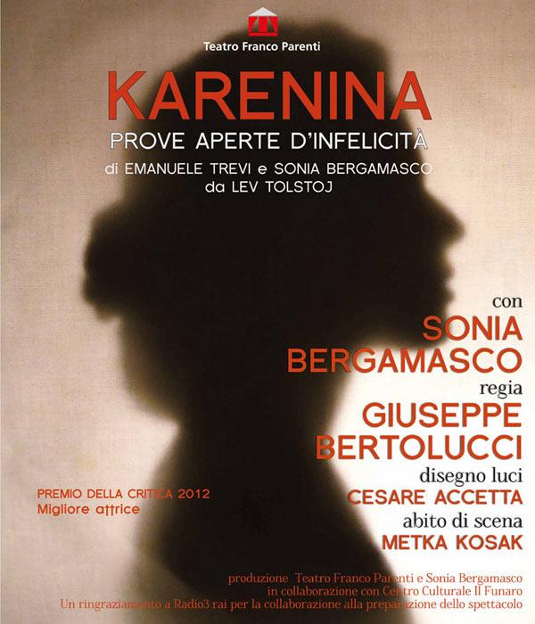 "Al Teatro Parenti Sonia Bergamasco da vita  ""all'idea"" di Anna Karenina"