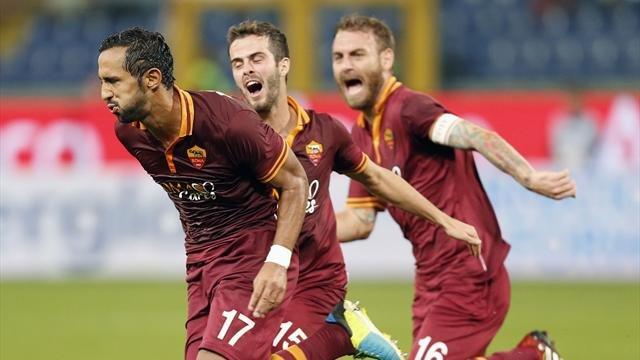 Roma sola in testa, vince la Juve. Pari per Napoli e Milan. Stasera Inter-Fiorentina