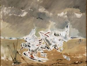 Filippo de Pisis, Gli albatri, 1945, olio su tela cm 79 x 100.