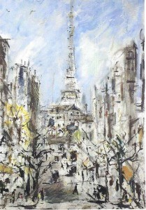 Filippo de Pisis, La Torre Eiffel, 1939, olio su tela