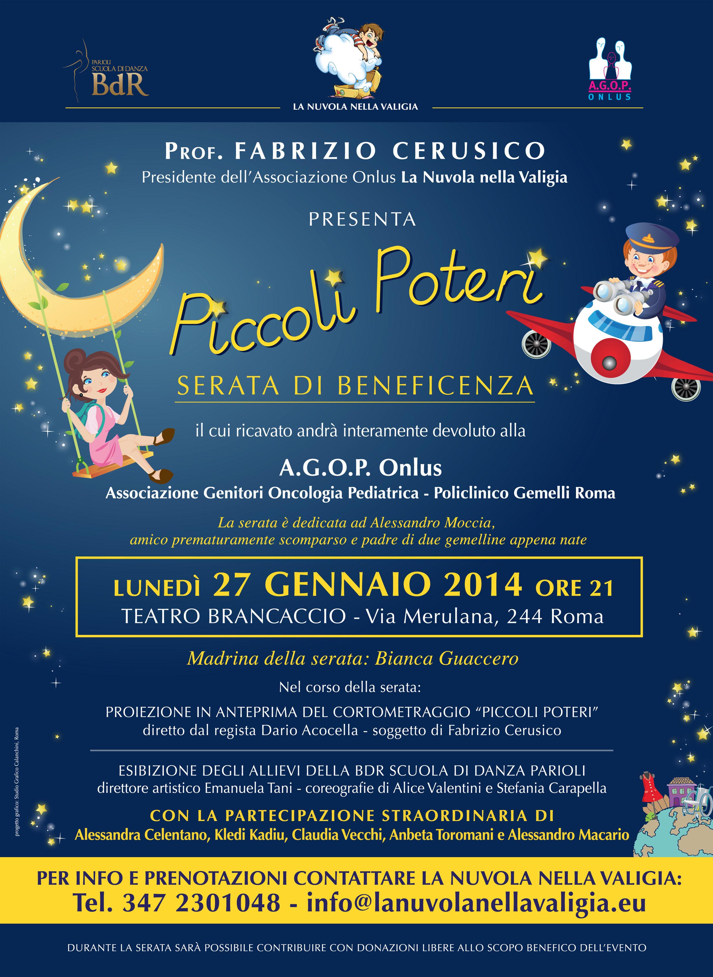 Il Brancaccio ospita una serata di beneficenza dedicata all' A.G.O.P Onlus