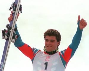 Italian skier Alberto Tomba gives the th