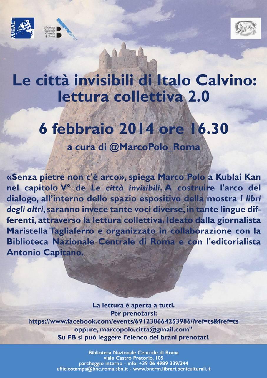 Il progetto @MarcoPolo_Città sbarca a Roma.  Alla Biblioteca Nazionale una lettura collettiva de Le città invisibili di Italo Calvino