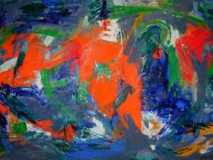 L.Montanarini Composizione, 1958, olio su tela