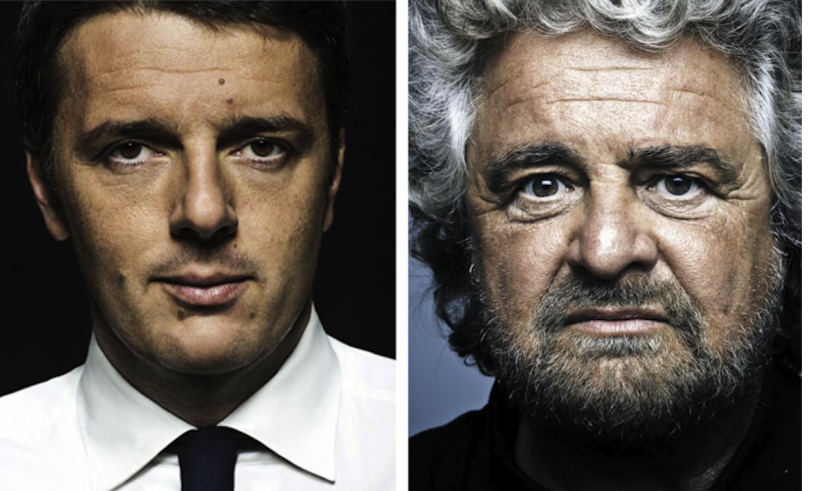 """Botta e risposta su blog/twitter tra Grillo e Renzi: """"E' colpo di Stato"""" o """"Colpo di sole""""?"""