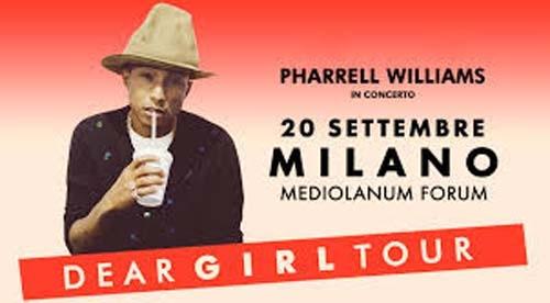 Pharrell Williams arriva a Milano con il Dear Girl Tour 2014