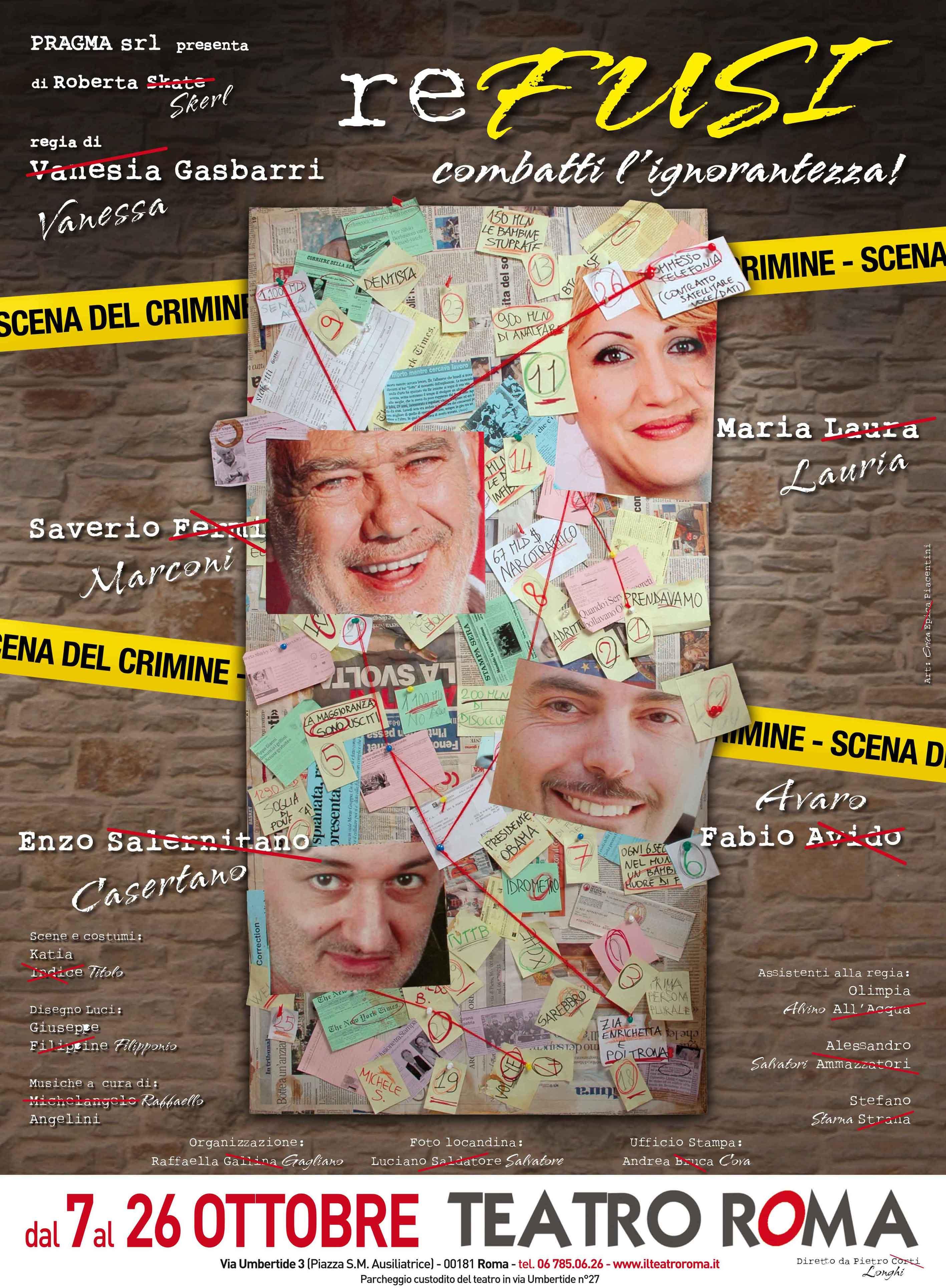 """""""ReFusi"""", Saverio Marconi combatte l' """"ignorantezza"""" al Teatro Roma"""