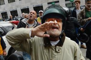 Beppe Grillo in Genoa after the floods