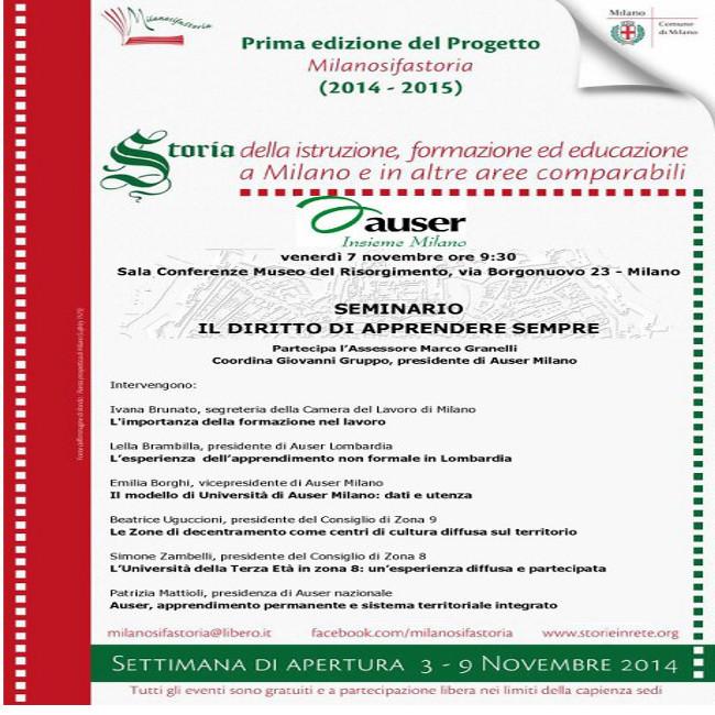 Novembre 2014: nasce la Prima edizione del Progetto pluriennale Milanosifastoria.