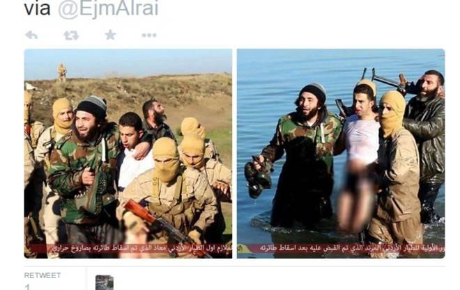 Diffuse in rete le immagini del pilota giordano della Coalizione catturato dall'ISIS