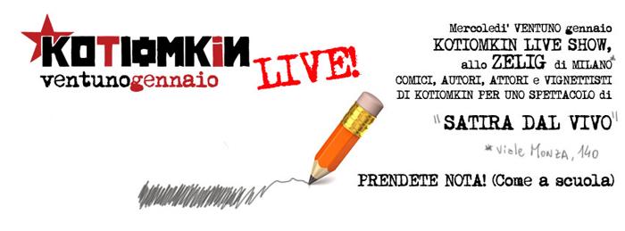 Kotiomkin: oggi la satira dal vivo sul palco di Zelig