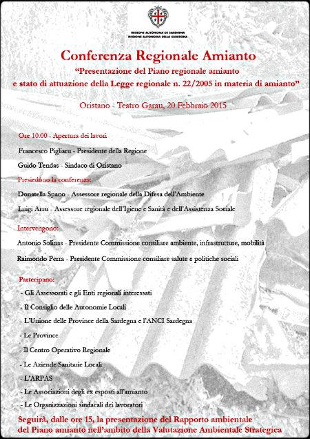 Oristano: prima conferenza regionale sull'amianto