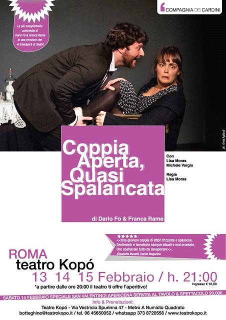 """""""Coppia aperta quasi spalancata"""" al Teatro Kopó di Roma"""