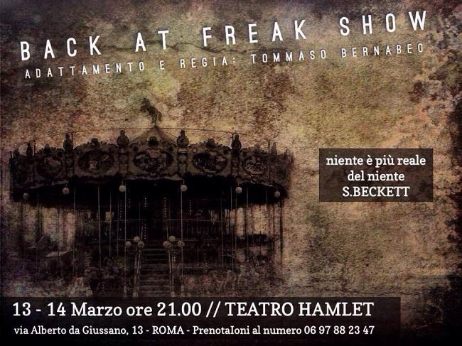 """""""Back at Freak Show"""", il nuovo spettacolo di """"Teatro SenzaTempo"""" all'Hamlet di Roma"""