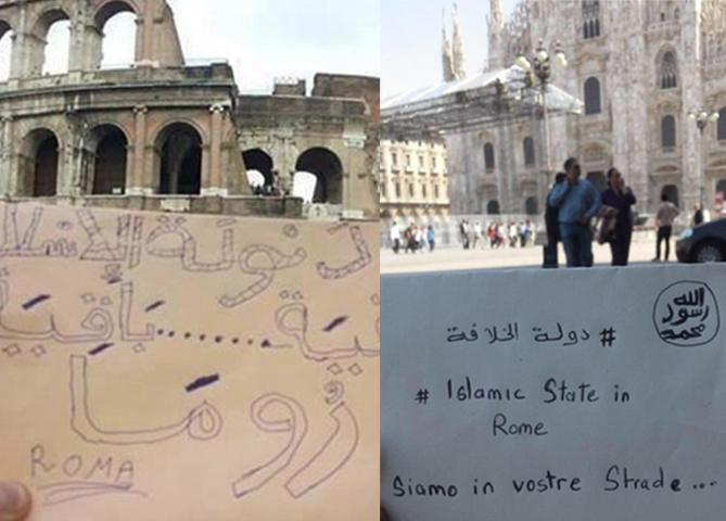 """Isis, foto con messaggi a Roma e Milano: """"Siamo in vostre strade"""""""