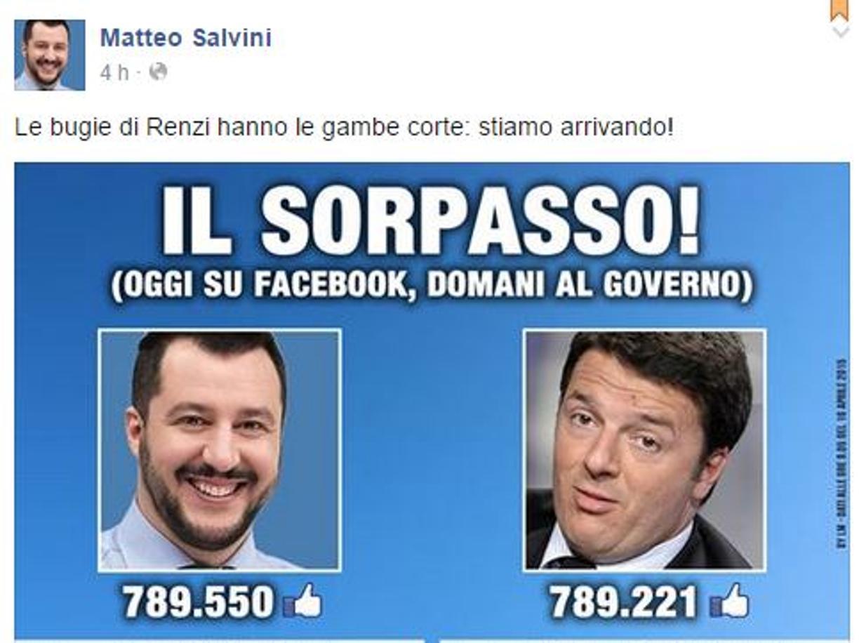Salvini sorpassa Renzi per il numero di mi piace sulla sua pagina di Facebook