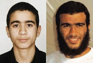 Omar Khadr, a 15 anni quanto è stato arrestato e Omar oggi. Foto: Human Right Watch