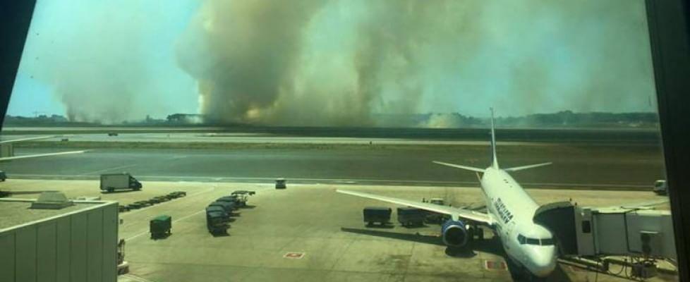 Fiumicino, incendio di sterpaglie, piste bloccate
