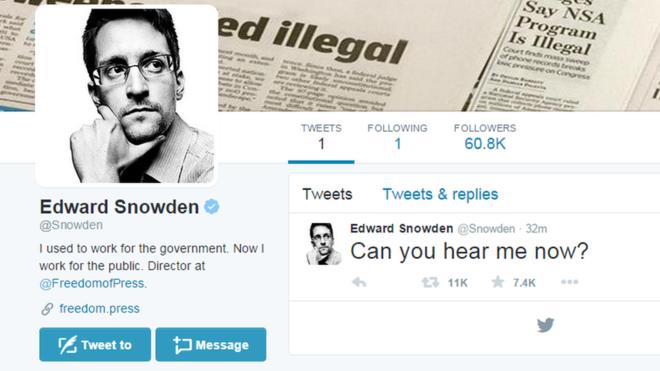 """Snowden sbarca su Twitter: """"Mi sentite adesso?"""""""