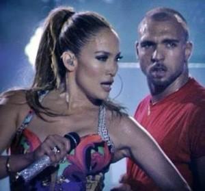 Jonathan Redavid sul palco con Jennifer Lopez