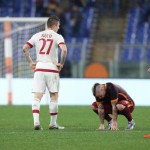 Roma's players at the end of the Italian Serie A soccer match AS Roma vs AC Milan at Olimpico stadium in Rome, Italy, 9 January 2016. ANSA/ ALESSANDRO DI MEO