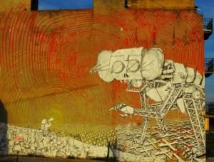 No Muos, murales di Blu a Niscemi