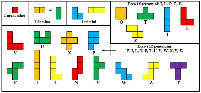 Ecco i tetramini. Ognuno composto da quattro quadrati.
