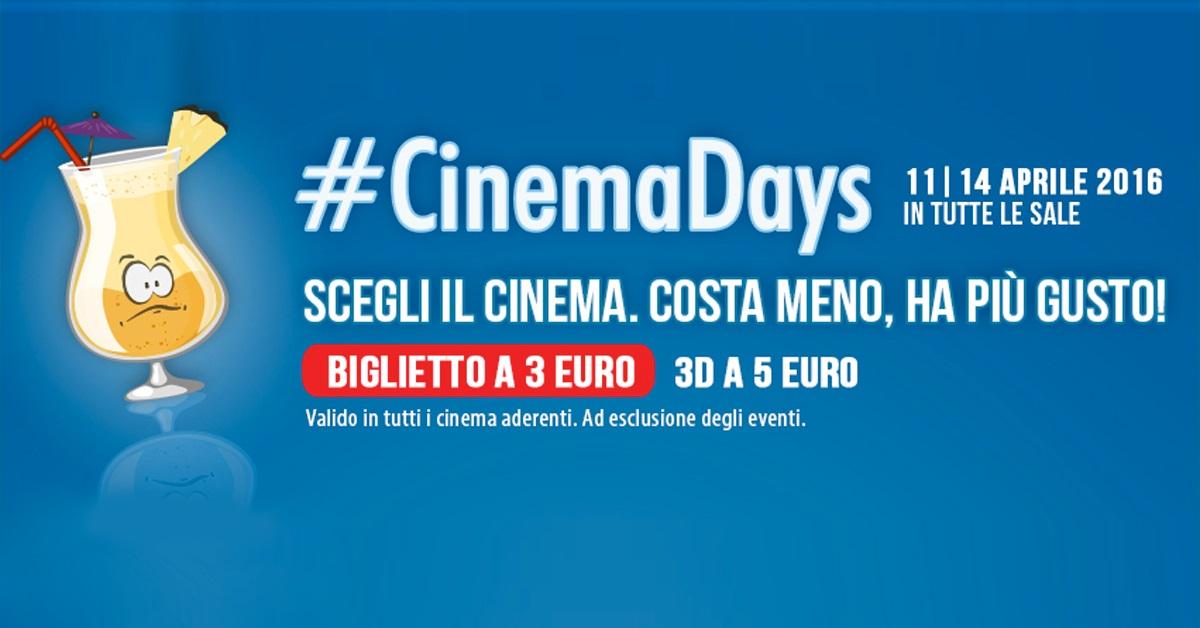 CinemaDays. Film in sala a soli 3 euro fino al 14 aprile 2016
