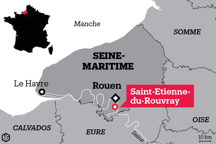 Saint-Étienne-du-Rouvray, si trova a pochi chilometri da Rouen, nella regione della Seine-Maritime. Fonte: Libération