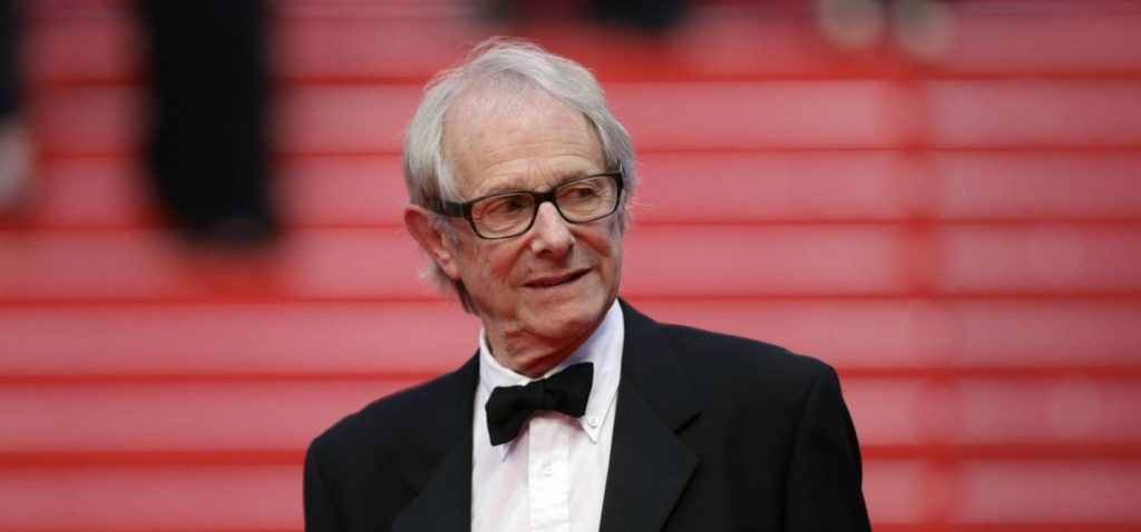 Director Ken Loach leaves following the screening of Jimmy's Hall at the 67th international film festival, Cannes, southern France, Thursday, May 22, 2014. (AP Photo/Thibault Camus)