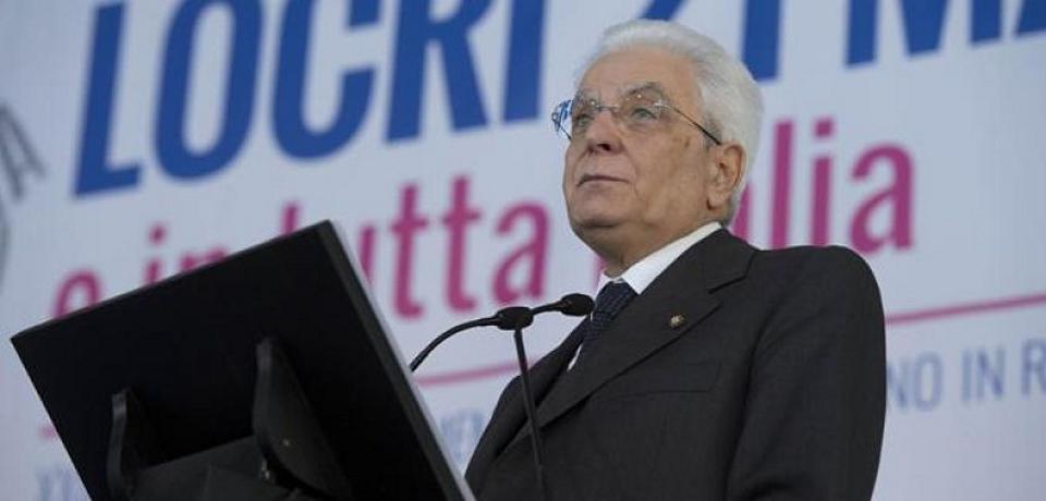 Mattarella a Locri: «mafia ancora forte e presente»