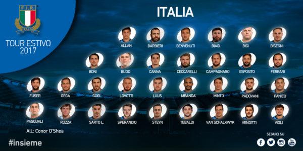Rugby – I 31 convocati per il tour estivo 2017