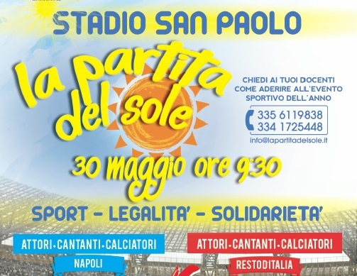"""Partita del sole,"" in campo al S. Paolo magistrati ed ex calciatori"