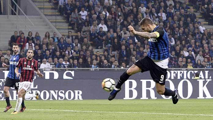 Super Icardi! Tre gol del bomber argentino abbattono il Milan e portano l'Inter sola al secondo posto