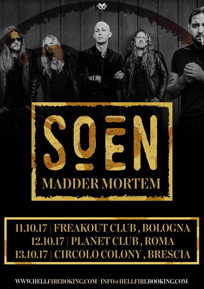 Soen a Roma, la band Statunitense in concerto nella capitale il 12 ottobre