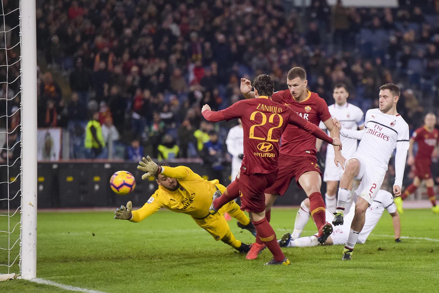 Zaniolo risponde a Piatek: Roma-Milan 1-1