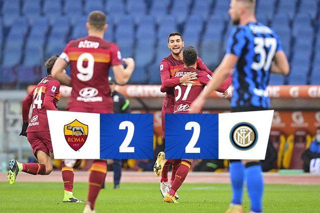 Roma – Inter 2-2, spettacolo e rimpianti all'Olimpico